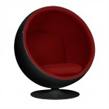 Ball Chair - Black Shell Red Interior