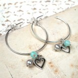 Heart, Amazonite And Pearl Hoop Earrings