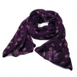 Purple Spotted Fine Knit Scarf